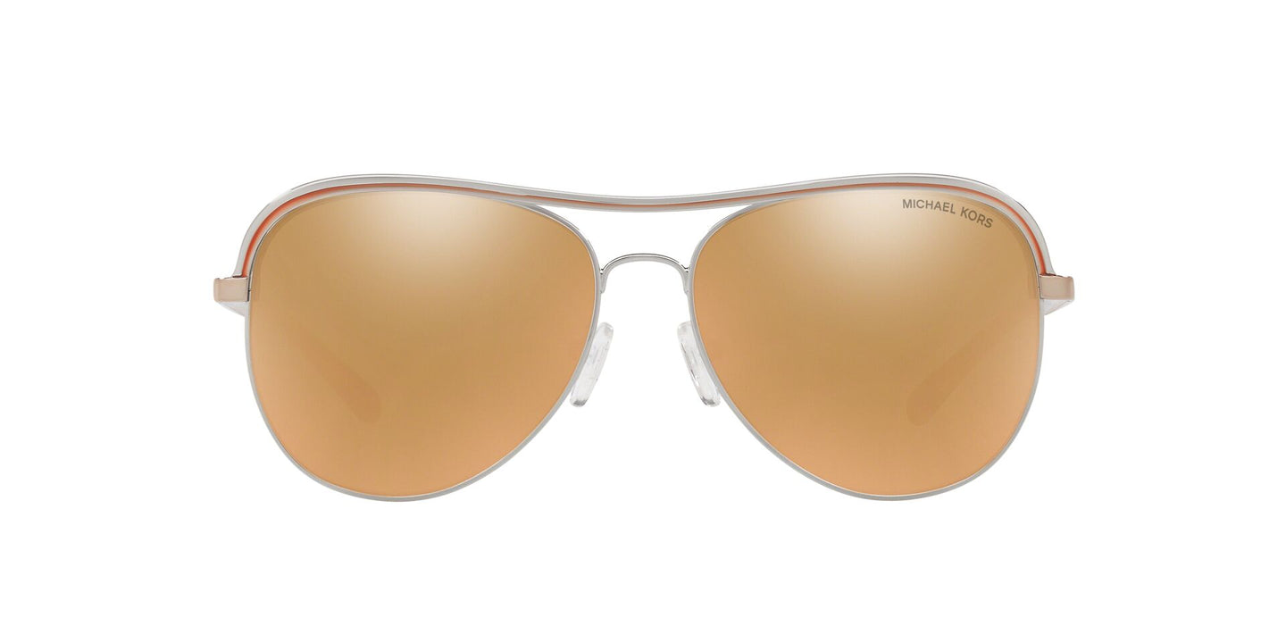 Michael Kors - MK1012 Shiny Silver Aviator Women Sunglasses - 58mm
