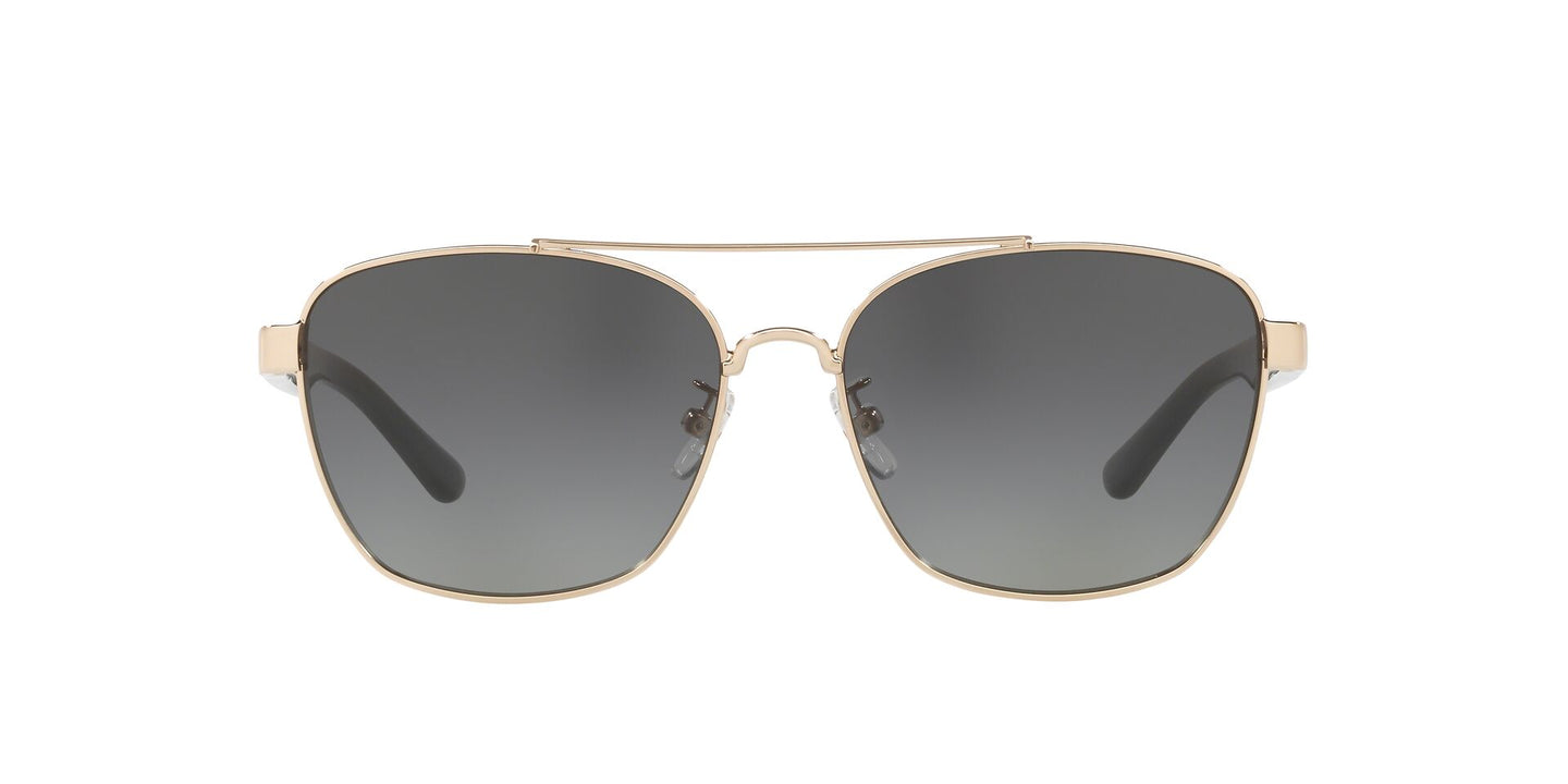 Tory Burch - TY6069 Shiny Light Gold Metal Square Women Sunglasses - 57mm