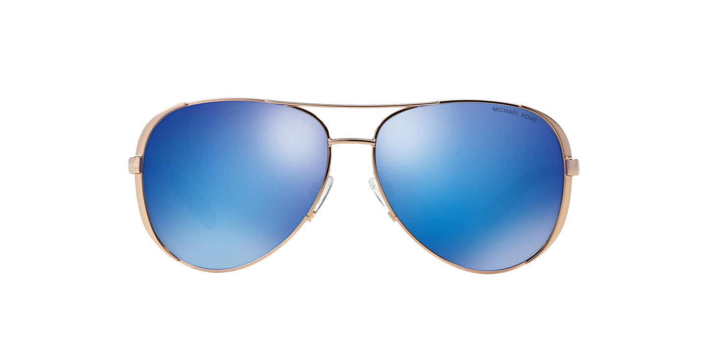 Michael Kors - MK5004 Gold/Blue Mirror Aviator Women Sunglasses - 59mm