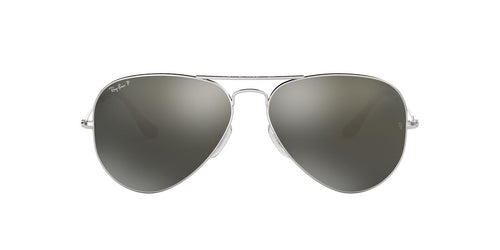 Ray Ban - Aviator Classic Silver/Grey Silver Mirror Polarized Unisex Sunglasses - 58mm