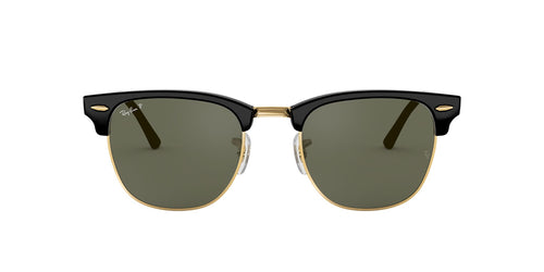 Ray Ban - Clubmaster Black/Green Polarized Oval Unisex Sunglasses - 49mm