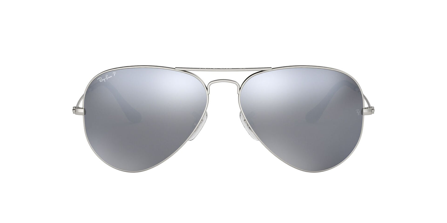 Ray Ban - Aviator Gray/Silver Mirror Polarized Unisex Sunglasses - 58mm