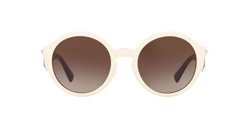 Valentino - VA4047 Ivory Havana/Brown Gradient Round Women Sunglasses - 52mm