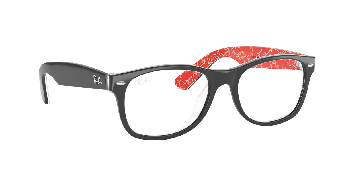Ray Ban Rx - New Wayfarer Top Black On Texture Red/Demo Lens Square Unisex Eyeglasses - 54mm