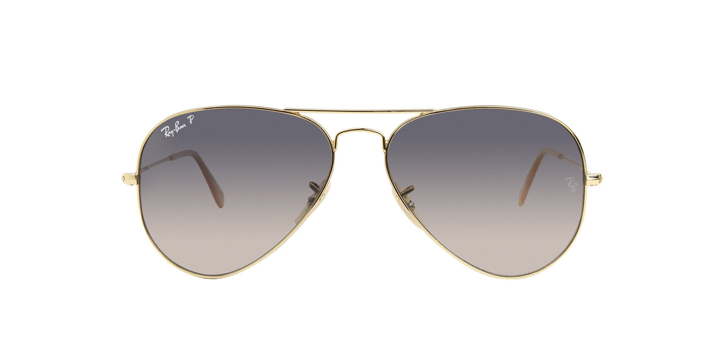 Ray Ban - Aviator Gradient Gold/Blue Gradient Polarized Men Sunglasses - 58mm