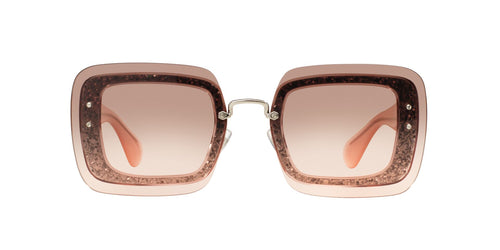 Miu Miu - MU 01RS Transparent Pink Glitter Square Women Sunglasses - 67mm