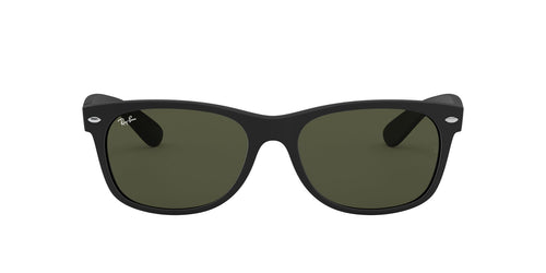 Ray Ban - New Wayfarer Black Rubber/Crystal Green Men Sunglasses - 58mm