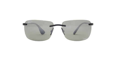 Ray Ban - Chromance Shiny Black Rectangle Men Sunglasses - 60mm