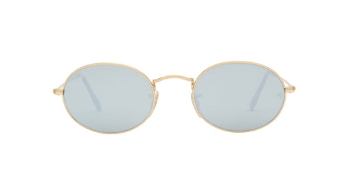 Ray Ban - Oval Flat Lenses Gold Oval Unisex Sunglasses - 51mm