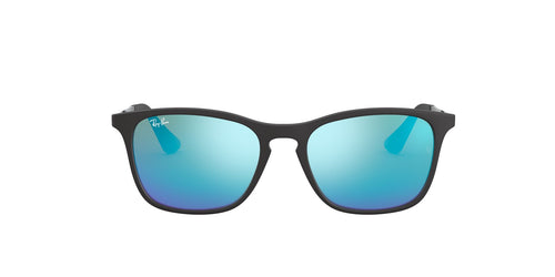 Ray Ban Jr - RJ9061SF Rubber Black/Light Green Mirror Blue Square Kids Sunglasses - 52mm