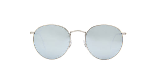 Ray Ban - Round Flash Lenses Matte Silver Phantos Men Sunglasses - 53mm