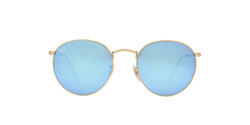 Ray Ban - Round Flash Lenses Matte Gold/Blue Mirror Polarized Oval Men Sunglasses - 53mm