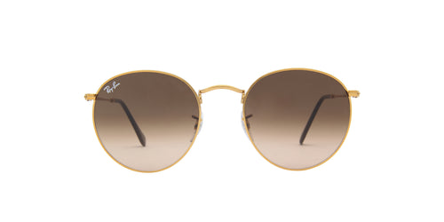 Ray Ban - Round Metal Shiny Light Bronze Round Men Sunglasses - 53mm