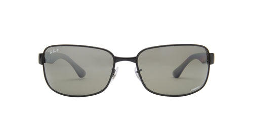 Ray Ban - Chromance Shiny Black Rectangle Men Sunglasses - 65mm