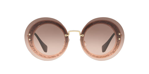 Miu Miu - MU 10RS Transp Pink/Fabric Glitter Sil Round Women Sunglasses - 64mm