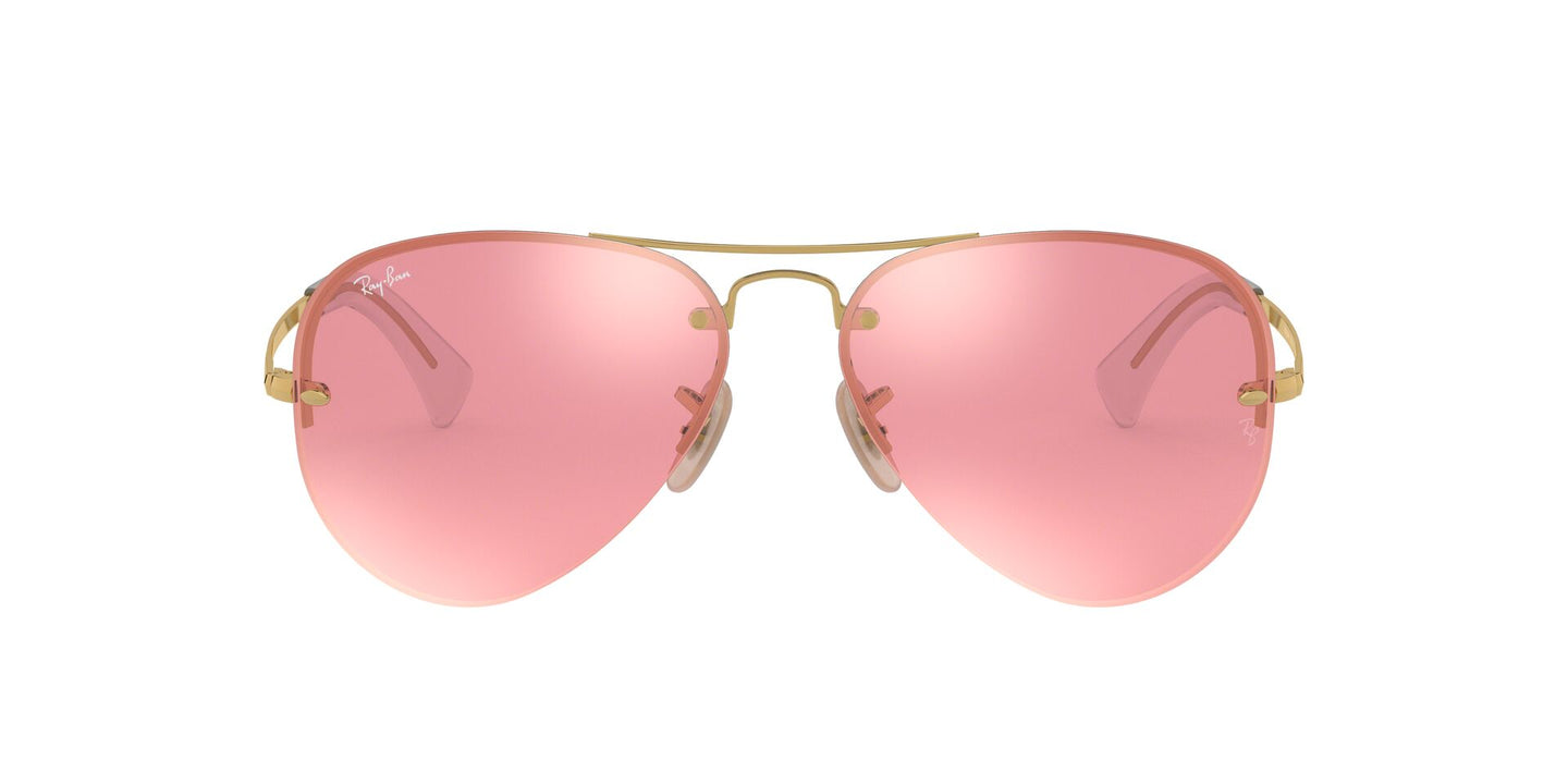 Ray Ban - RB3449 Gold/Pink Mirror Aviator Unisex Sunglasses - 59mm