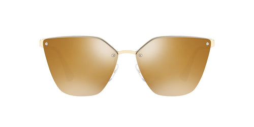 Prada - PR68TS Pale Gold/Dark Brown Mirror Polarized Cat Eye Women Sunglasses - 63mm
