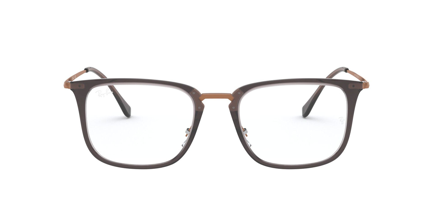 Ray Ban Rx - RX7141 Trasparent Grey Square Men Eyeglasses - 52mm