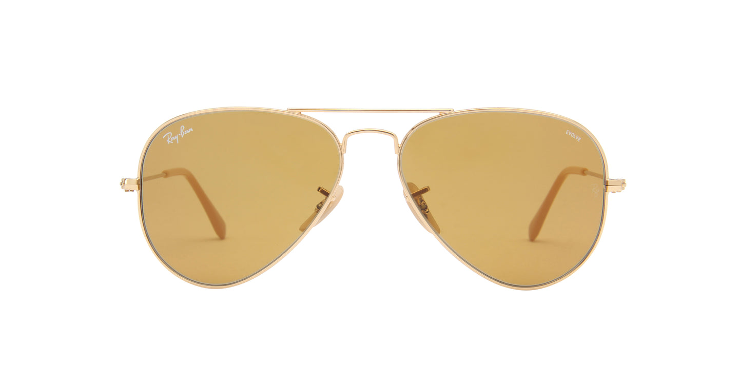 Ray Ban - Aviator Washed Evolve Gold/Photo Brown Unisex Sunglasses - 55mm