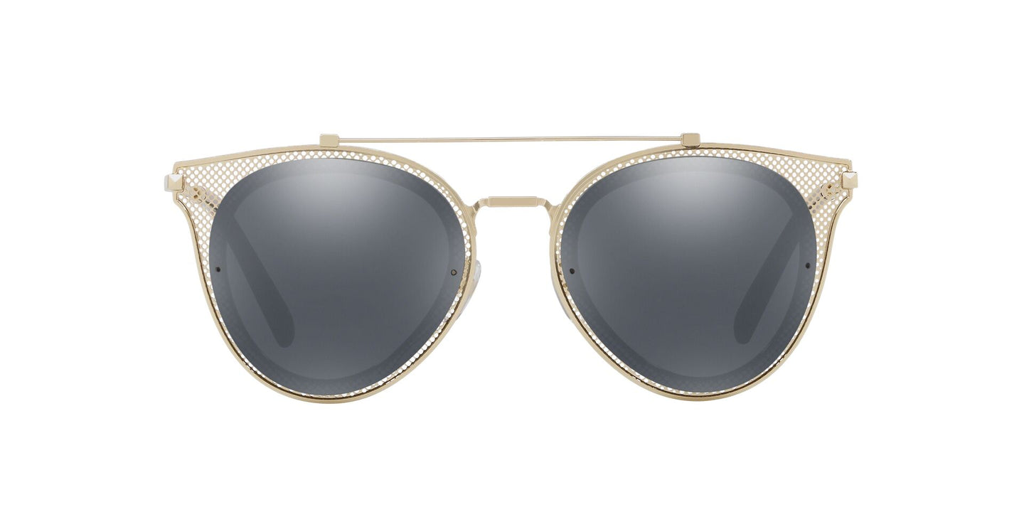 Valentino - VA2019 Light Gold/Black Mirror Aviator Women Sunglasses - 53mm