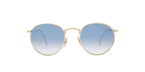 Ray Ban - Round Flat Lenses Arista/Crystal White to Blue Gradient Oval Men Sunglasses - 50mm