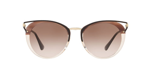 Prada - PR66TS Beige Gold/Brown Gradient Oval Women Sunglasses - 54mm