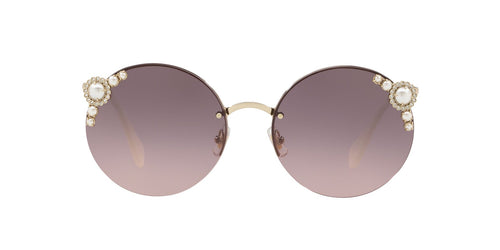 Miu Miu - MU 52TS Pale Gold Round Women Sunglasses - 60mm