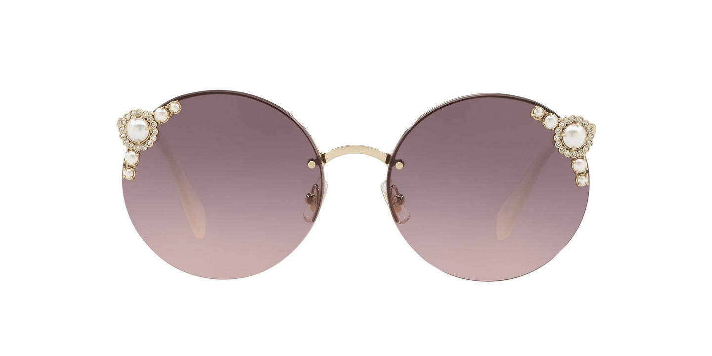 Miu Miu - MU52TS Pale Gold/Pink to Grey Gradient Round Women Sunglasses - 60mm