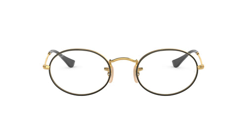 Ray Ban Rx - RX3547V Gold On Top Black Oval Unisex Eyeglasses - 48mm