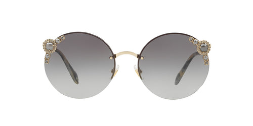 Miu Miu - MU52TS Pale Gold/Grey Gradient Round Women Sunglasses - 60mm