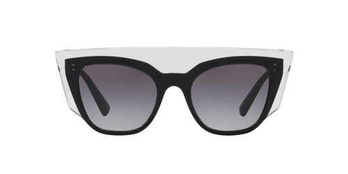 Valentino - VA4035 Trasparent/Black/Trasparent Square Women Sunglasses - 49mm
