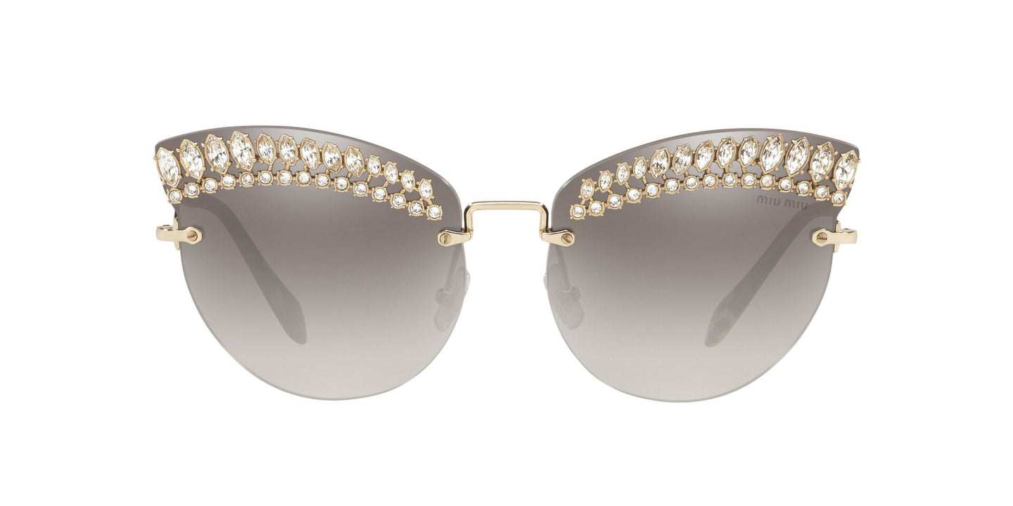 Miu Miu - MU58TS Pale Gold/Grey Mirror Cat Eye Women Sunglasses - 65mm
