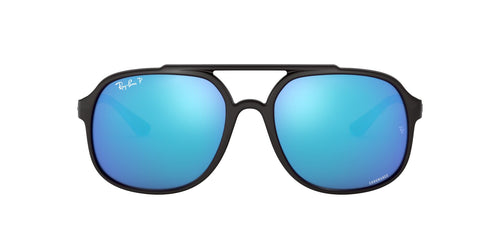 Ray Ban - RB4312CH Black/Blue Mirror Polarized Square Men Sunglasses - 57mm