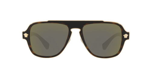 Versace - VE2199 Dark Havana /Dark Grey Mirror Gold Aviator Men Sunglasses - 56mm