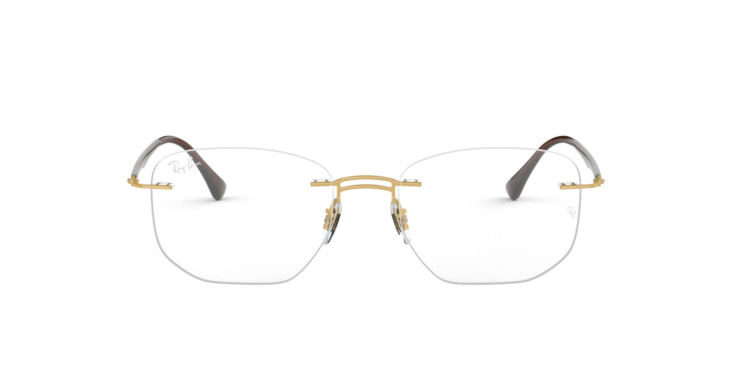 Ray Ban Rx - RX8757 Gold Rectangle Men Eyeglasses - 51mm