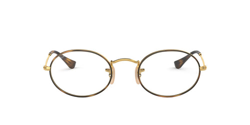 Ray Ban Rx - Oval Gold On Top Havana/Demo Lens Unisex Eyeglasses - 51mm