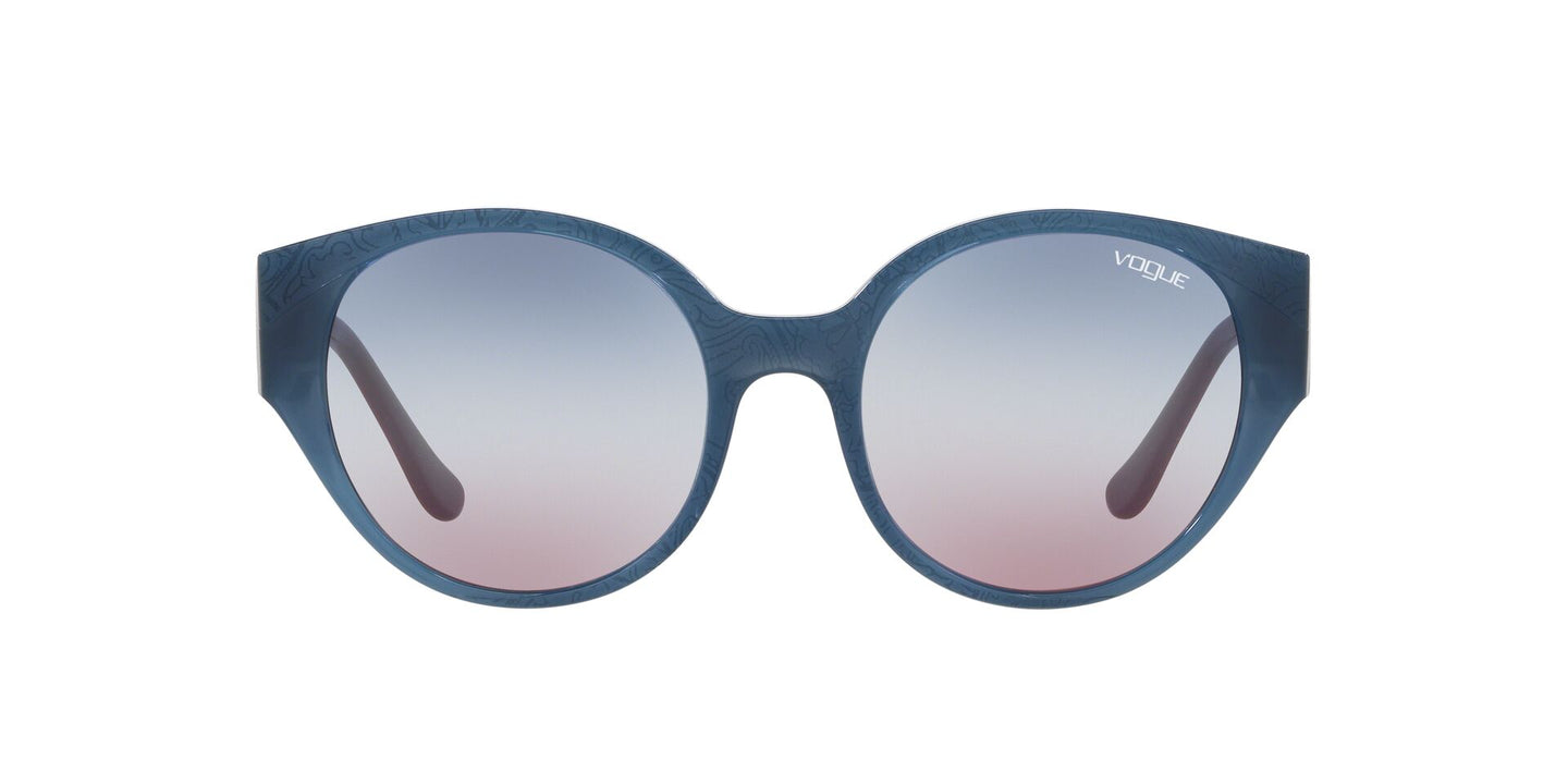 Vogue - VO5245S Opal Light Blue/Serigraphy Round Women Sunglasses - 53mm