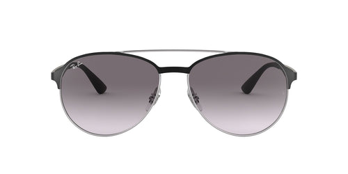 Ray Ban - RB3606 Silver On Top Matte Black Aviator Men Sunglasses - 59mm