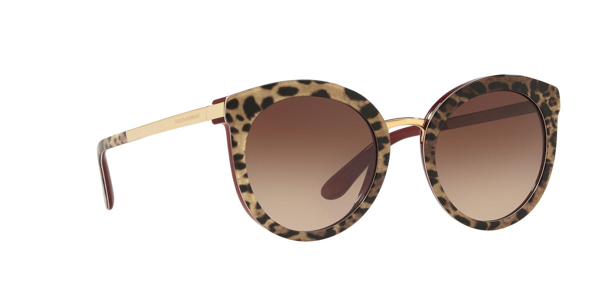 Dolce Gabbana - DG4268F Leo On Bordeaux/Brown Gradient Round Women Sunglasses - 52mm