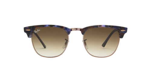 Ray Ban - Clubmaster Spotted Brown/Blue Oval Men Sunglasses - 49mm