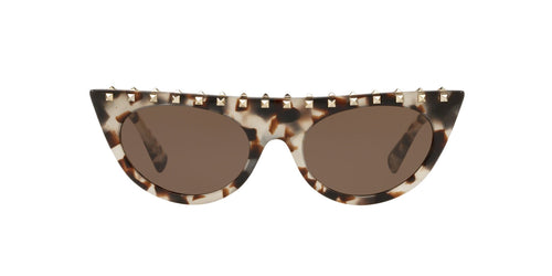 Valentino - VA4018 Brown/Beige Tortoise Cat Eye Women Sunglasses - 52mm