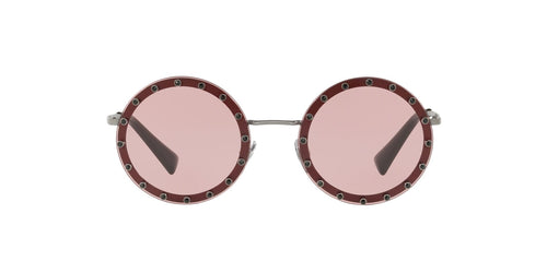 Valentino - VA201B Bordeaux/Gunmetal Round Women Sunglasses - 52mm