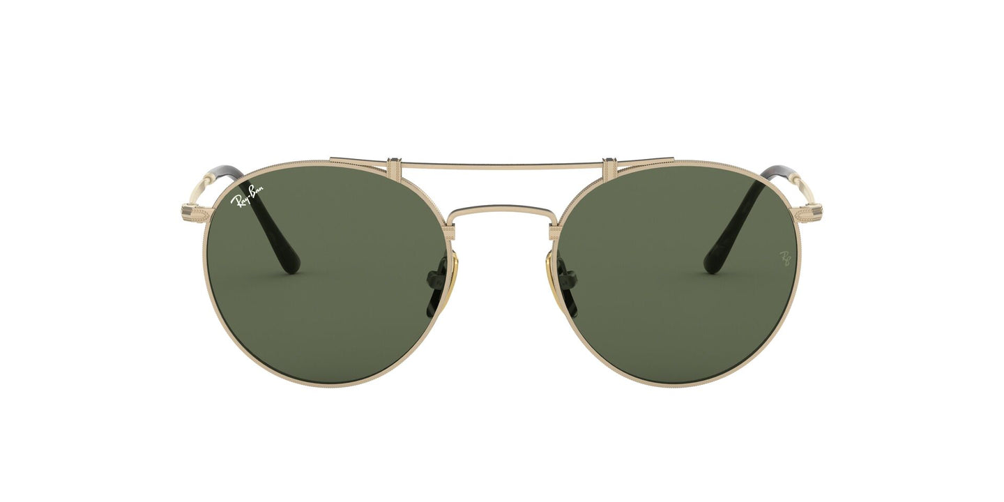 Ray Ban - Titanium Brusched Demi Gloss White Gold/Green Phantos Unisex Sunglasses - 50mm
