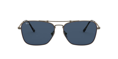 Ray Ban - Caravan Titanium Demi Gloss Pewter/Dark Blue Aviator Unisex Sunglasses - 58mm