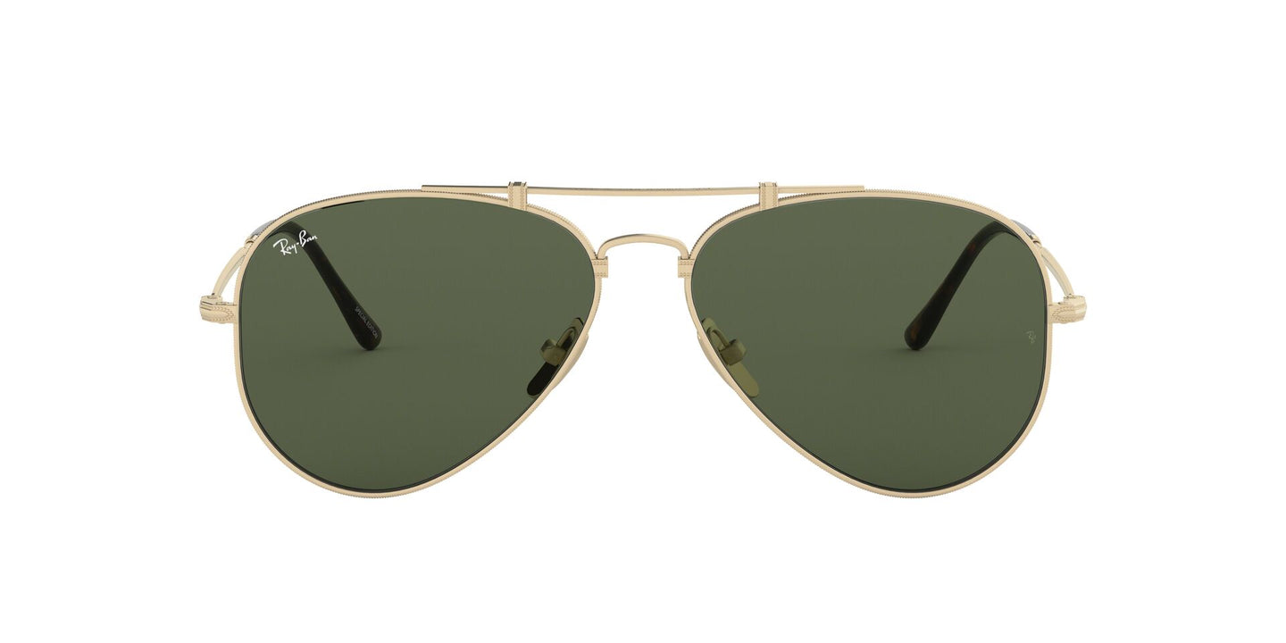 Ray Ban - Titanium Brusched Demi Gloss White Gold/Green Phantos Unisex Sunglasses - 58mm