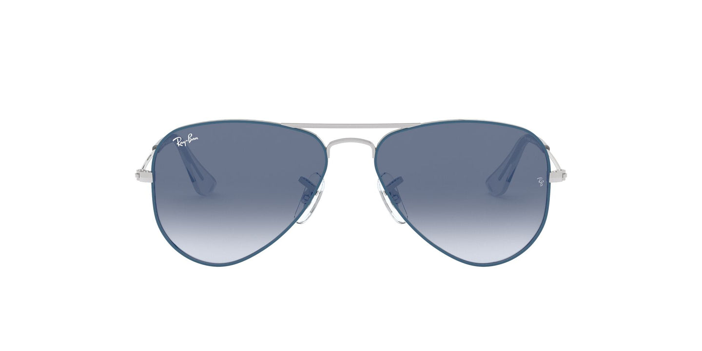 Ray Ban Jr - Aviator Silver On Top Light Blue/Blue Mirror Red  Kids Sunglasses - 50mm