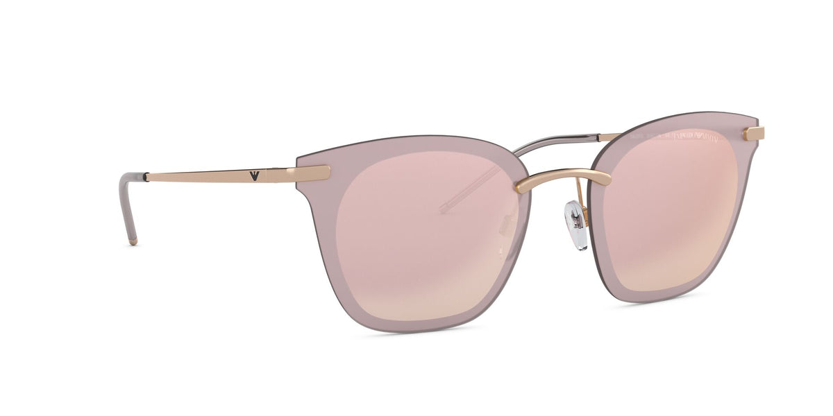 Emporio Armani - EA2075 Rose Gold/Light Violet Mirror Irregular Women Sunglasses - 60mm