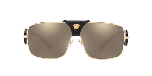 Versace - Squared Baroque Gold Square Unisex Sunglasses - 38mm