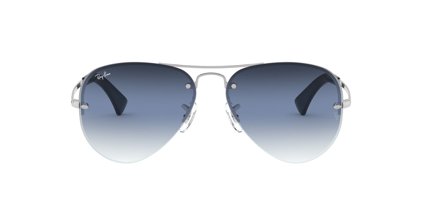 Ray Ban - RB3449 Silver/Clear Grad Blue Gradient Aviator Men Sunglasses - 59mm