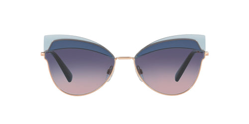 Valentino - VA2030 Rose Gold/Blue Pink Gradient Aviator Women Sunglasses - 60mm
